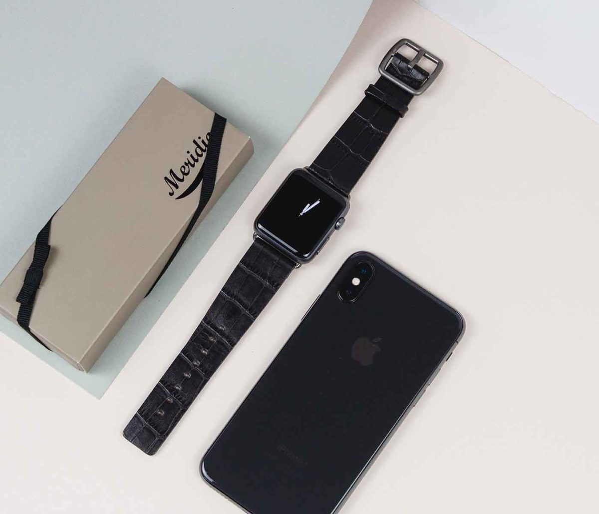 Pitch-black-printed-leather-band-on-top-close-to-iphoneX