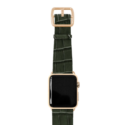 Shamrock-Apple-watch-green-genuine-leather-yellow-gold-case