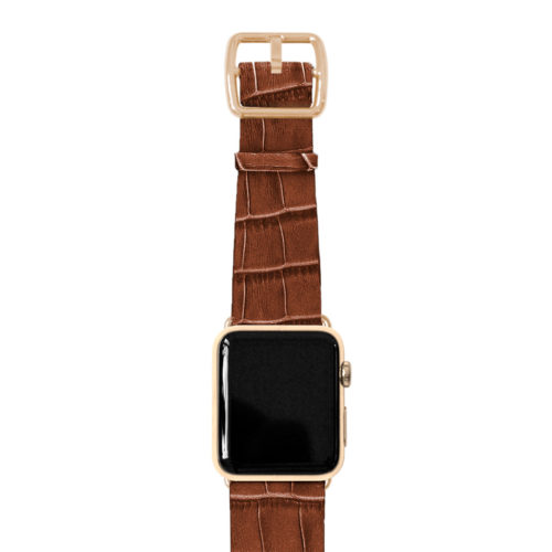 Sweetwood-Apple-watch-light-brown-genuine-leather-yellow-gold-case