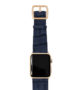 global-waters-Apple-watch-blue-genuine-leather-band-yellow-gold-case