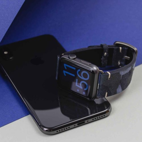 Blue-Combact-camouflage-suede-band-close-to-iPhone-X-black-version