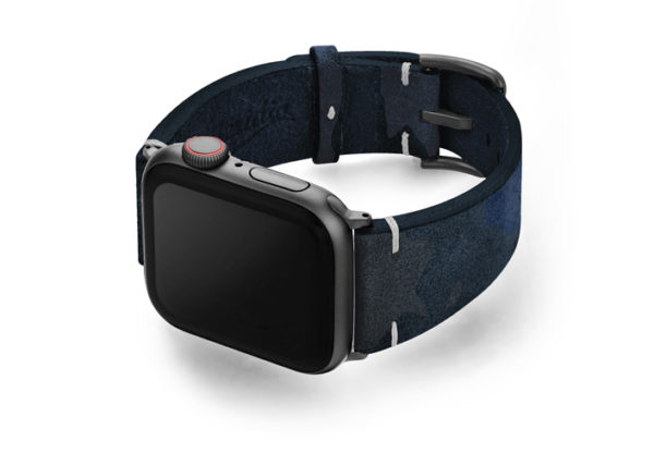 Blue-Combact-Apple-watch-camouflage-leather-band-with-case-on-left