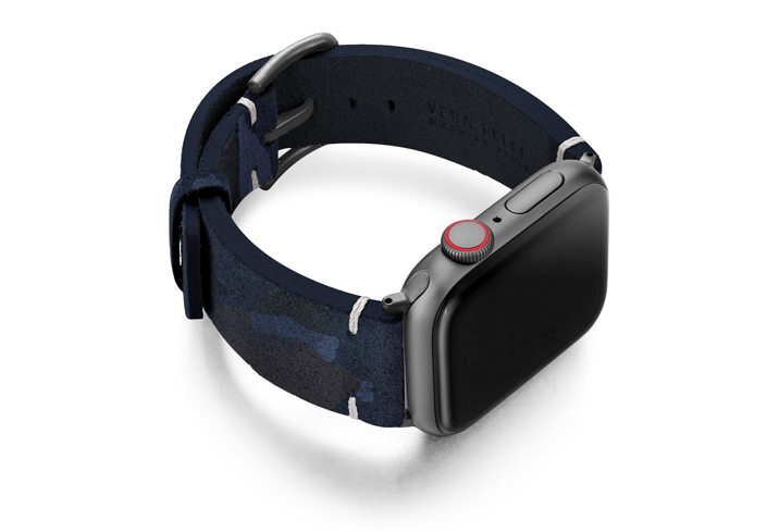 Blue-Combact-Apple-watch-camouflage-leather-band-with-case-on-right
