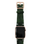 Green-Guerilla-Apple-watch-camouflage-band-on-top-gold-series3-case