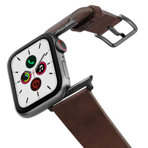 Burnt-AW-full-grain-leather-band-on-air-with-space-grey-adapters