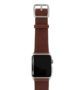 Burnt-Apple-watch-deep-brown-genuine-leather-band-with-silver-case