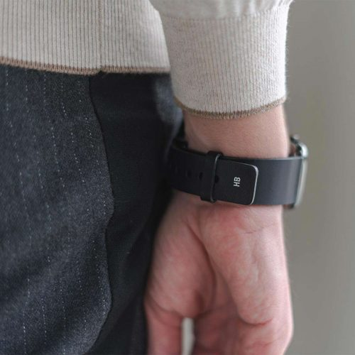 Cassel-Apple-watch-black-full-grain-leather-band-back-side-view-with-focus-on-monogram