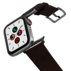 Cassel-Apple-watch-genuine-black-leather-band-on-air-space-grey-adapters