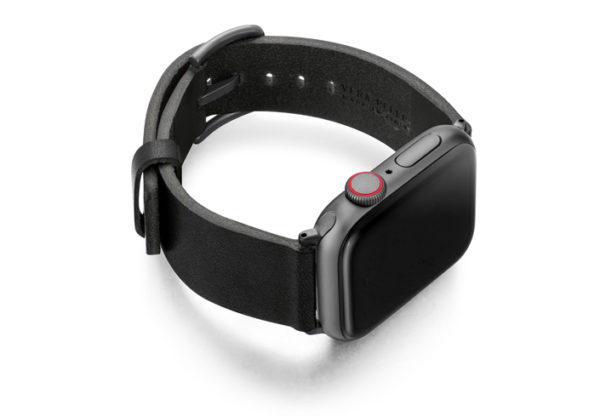 Cassel-Apple-watch-genuine-black-leather-band-with-case-on-right
