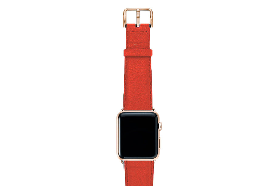 Coral-red-nappa-band-on-top-with-gold-series3-adaptors