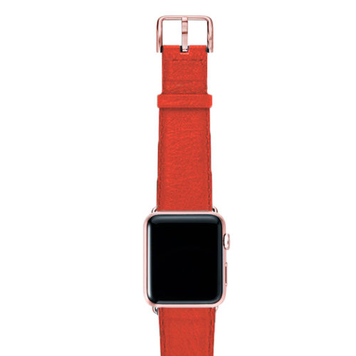 Coral-red-nappa-band-on-top-with-rose-gold-adaptors