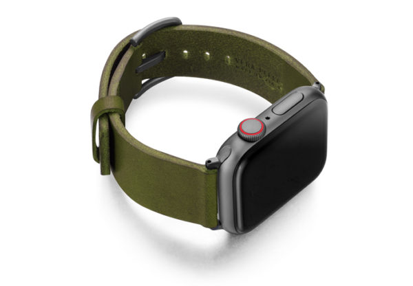 Deep-Leaf-Apple-watch-green-genuine-leather-band-with-case-on-right