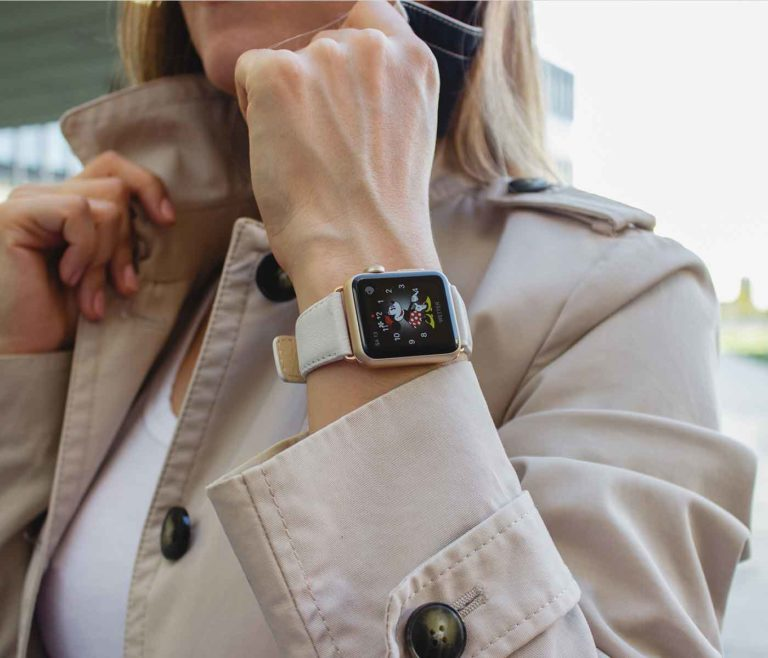 Off-White-Apple-watch-nappa-leather-band-with-a-grey-female-coat