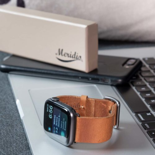 Tawny-AW-brown-full-grain-leather-band-on-macbook-pro