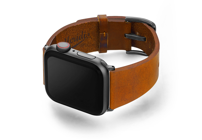 Tawny-Apple-watch-light-brown-genuine-leather-band-with-case-on-left