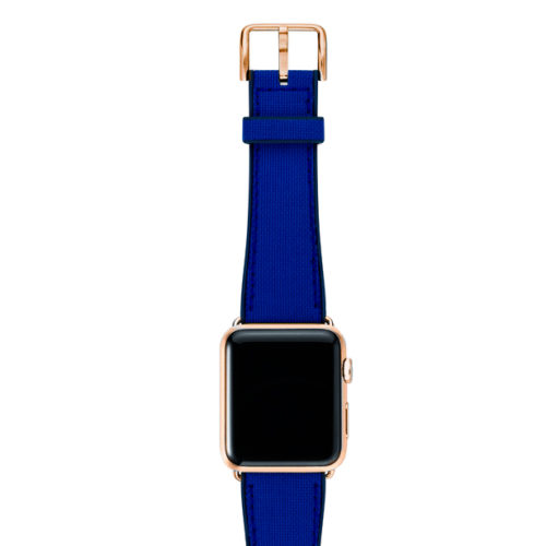 Deep-Ocean-Apple-watch-blue-natural-rubber-strap-with-GOLD-SERIES-3-case