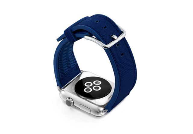 Deep-Ocean-Apple-watch-blue-natural-rubber-strap-with-case-on-back