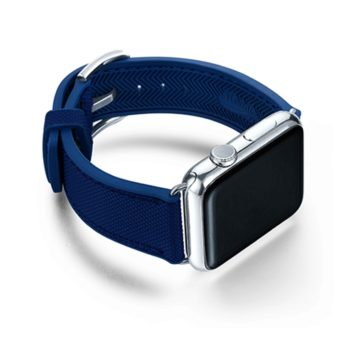 Deep-Ocean-Apple-watch-blue-natural-rubber-strap-with-case-on-right