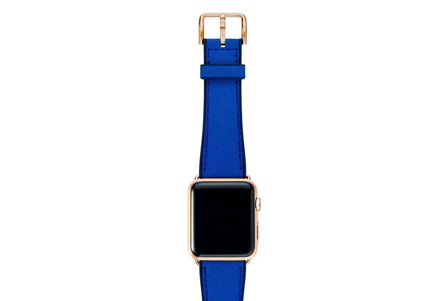 Electric-blue-Apple-watch-natural-rubber-strap-with-gold-series-3-case