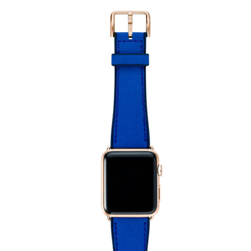Electric-blue-Apple-watch-natural-rubber-strap-with-rose-gold-case