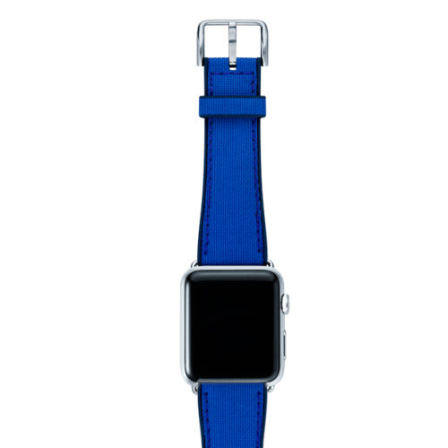 Electric-blue-Apple-watch-natural-rubber-strap-with-silver-case