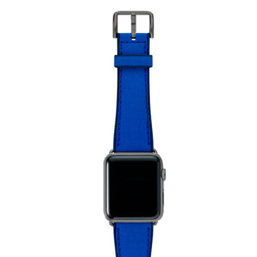 Electric-blue-Apple-watch-natural-rubber-strap-with-space-grey-case
