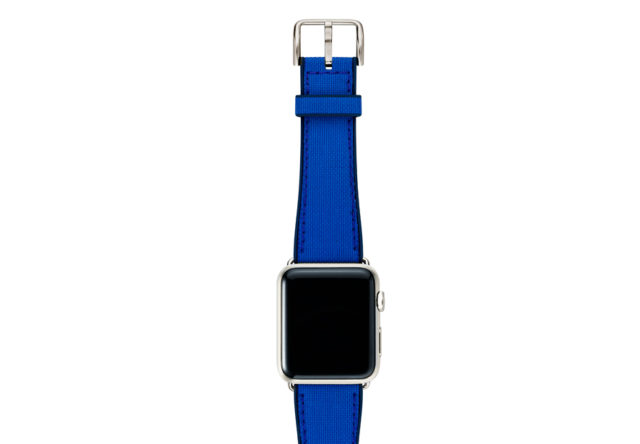 Electric-blue-Apple-watch-natural-rubber-strap-with-stainless-case