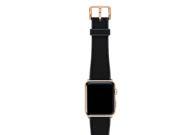 Gloomy-Apple-watch-black-natural-rubber-strap-with-GOLD-SERIES-3-case