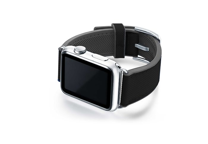 Gloomy-Apple-watch-black-natural-rubber-strap-with-case-on-left