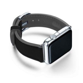 Gloomy-Apple-watch-black-natural-rubber-strap-with-case-on-right