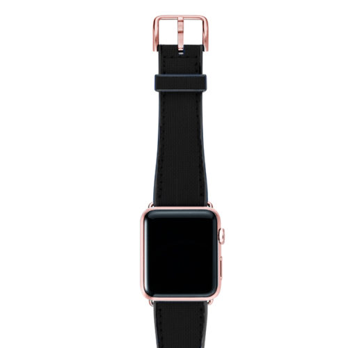 Gloomy-Apple-watch-black-natural-rubber-strap-with-rose-gold-case