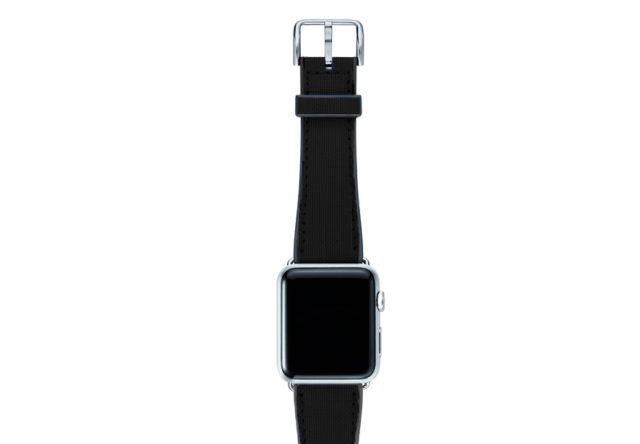 Gloomy-Apple-watch-black-natural-rubber-strap-with-silver-case