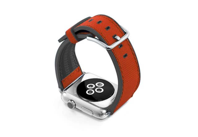Lobster-Apple-watch-red-natural-rubber-strap-with-case-on-back