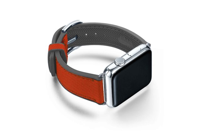 Lobster-Apple-watch-red-natural-rubber-strap-with-case-on-right