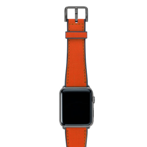 Lobster-Apple-watch-red-natural-rubber-strap-with-space-grey-case