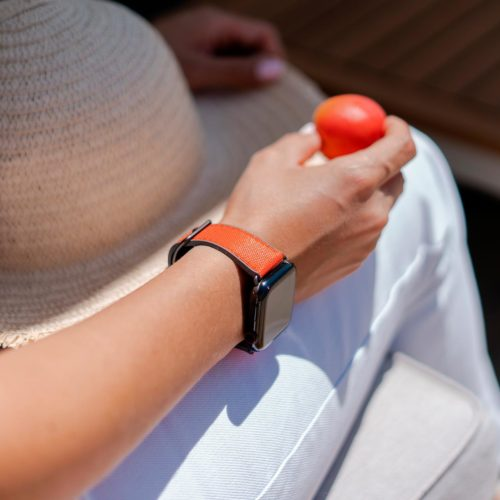 Lobster-Apple-watch-red-orange-rubber-band-keeping-a-tomato-in-own-hands