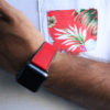 Lobster-apple-watch-red-natural-rubber-band-on-white-hawaiian-shirt-ig