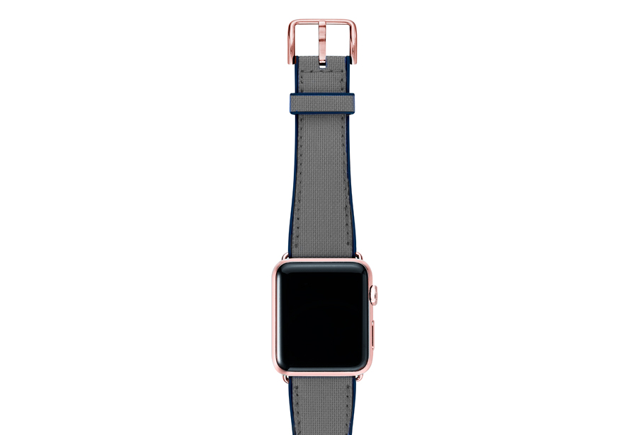 Summer-Cloud-Apple-watch-grey-natural-rubber-strap-with-rose-gold-case