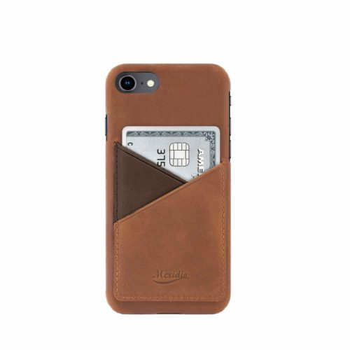 iPhone-8-light-bronw-leather-case-front-side