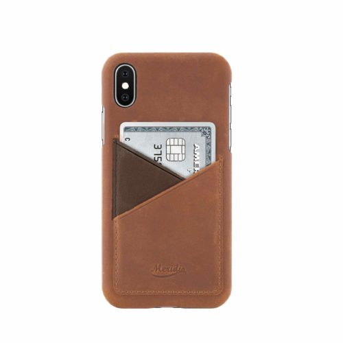 iPhone-X-light-bronw-leather-case-front-side