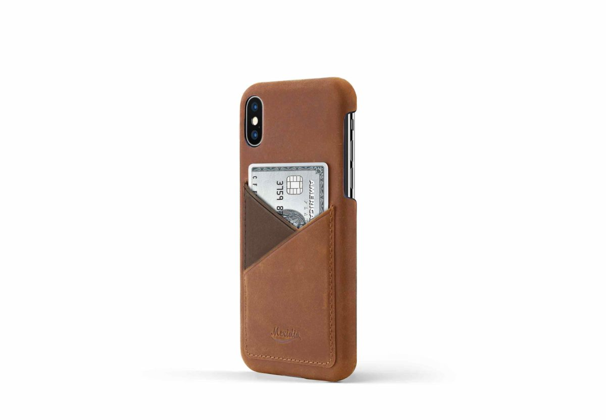 iPhone-X-light-bronw-leather-case-on-side