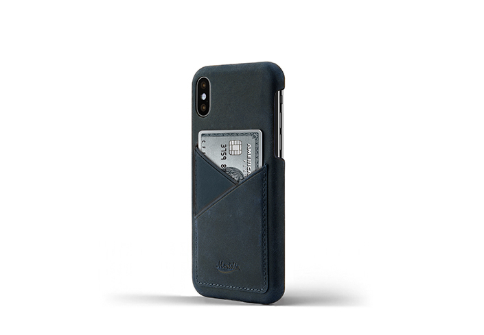 iPhone-X-blue-Leather-case-on-side