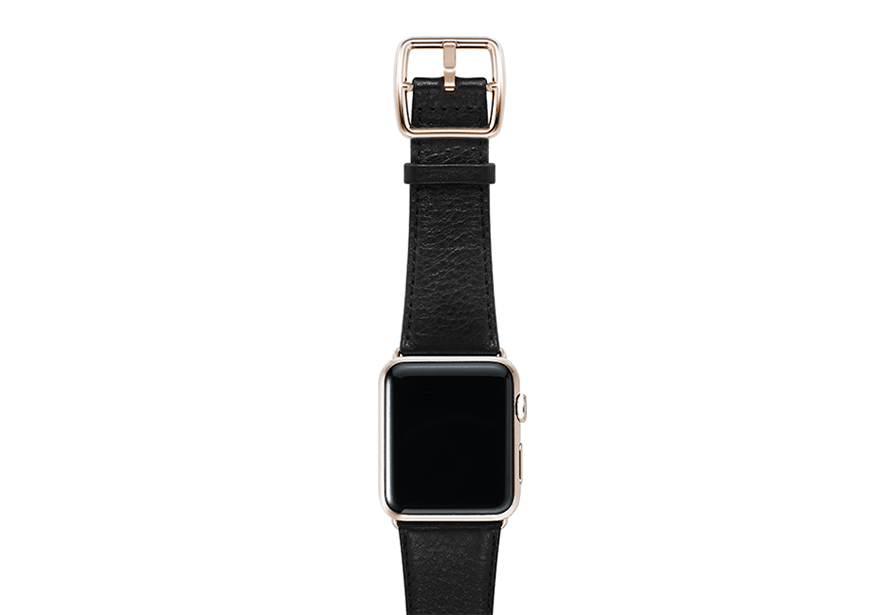 nappa_INK-black-band-with-stainless-gold-adaptors