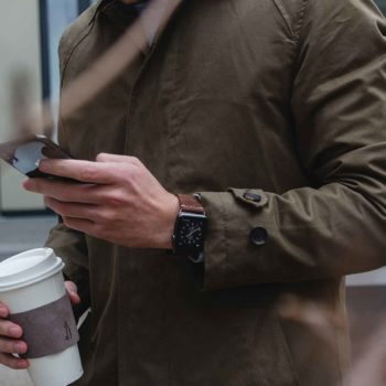 Cottage Chocolate+CoffeoClock-Dark-brown-combo-Apple-leather-accessories-for-him-with-green-jacket