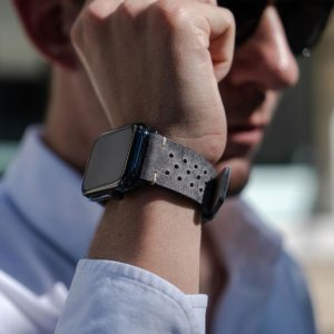 AW-bullet-proof-grey-leather-band-close-up-in-a-sunny-day