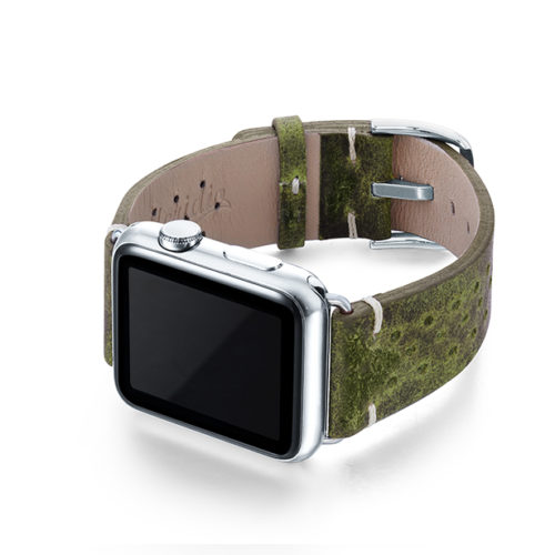 Hope-AW-green-calf-leather-band-with-holes-and-case-on-left