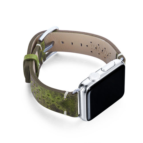 Hope-AW-green-calf-leather-band-with-holes-and-case-on-right