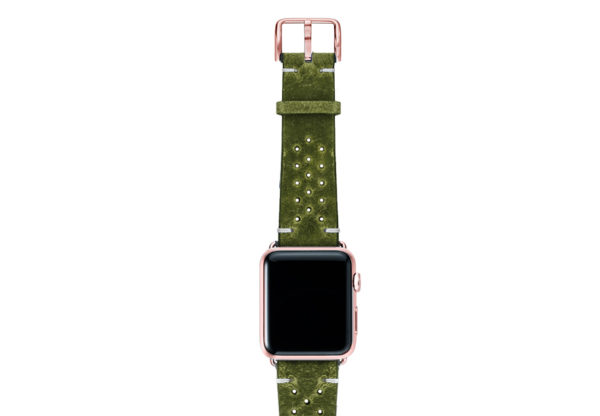 Hope-AW-green-calf-leather-band-with-holes-with-case-rose-gold