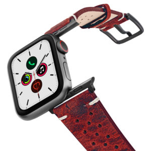 Promise-AW-red-calf-leather-band-on-air-space-grey-adapters