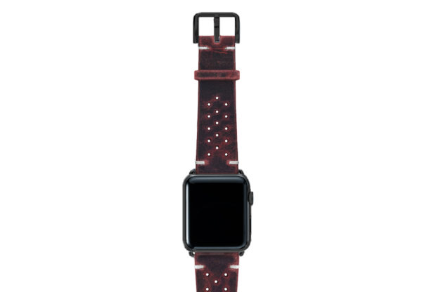 Promise-AW-red-calf-leather-band-with-holes-and-case-black